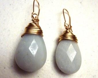Gold Wire Wrapped Light Blue Amazonite Teardrop Earrings