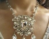 Maria Antoinette sparkle Swarovski rhinestone crystals chandelier dangly wedding bridal necklace
