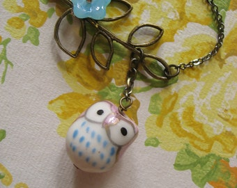 SALE - Antiqued brass branch and porceline owl charm pendant necklace