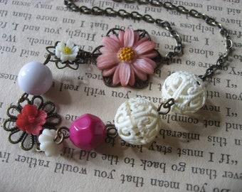 SALE - Lilac flowers fairy garden flower girls necklace