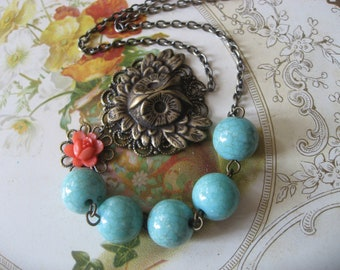 Lovely owl and flower necklace