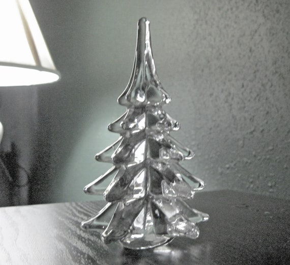 Vintage art glass clear solid crystal christmas tree