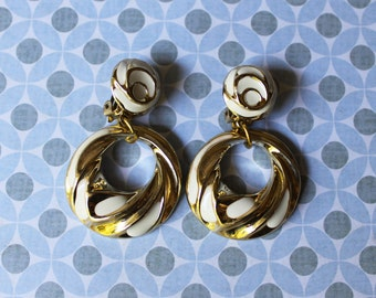 Gold and White Enamel Clip On Dangle Earrings