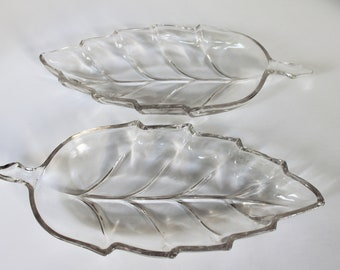 Pair of Vintage Glass Leaf Candy Dishes/Serving Dishes