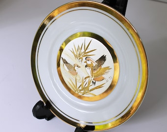 Silver/Copper/24k Gold Japanese Chokin Plate with Display Stand - Ducks and Reeds