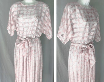 Vintage Semi-sheer Pink and White Patterned Dress