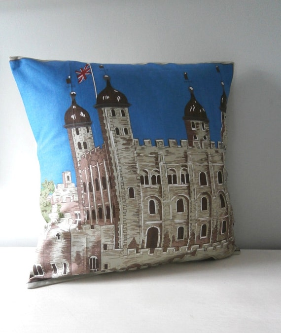 OOAK Royal Tower of London Cushion / Pillow cover Upcycled Teatowel