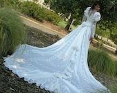 Vintage White Wedding Gown  White Full Length Long Train J