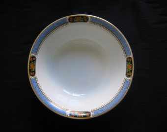"""J & G Meakin Round Vegetable Bowl - Blue Band with Orange Flowers 8 1/4"""" SOL - Made in England"""