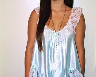 80's Pale Blue Silk Lace Detailed Mini Nightgown