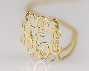 Monogram necklace - 1 inch Personalized Monogram - 925 Sterling silver 18k Gold Plated
