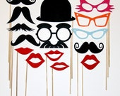 Photo Booth Party Props, 15 Piece Set, Photobooth Wedding Photo Props