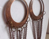 FREE SHIPPING Long Copper Dangle Earrings