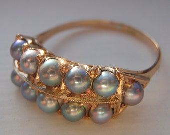SOLD, January Payment for VERONICA. Vintage Cultured Pearl Solid Gold Ring. Exquisite Gift. Vintage Pearl Heaven. Stunning Luster & Quality.