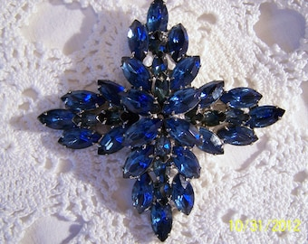 Vintage Julianna Brooch-Large, Gorgeous Blue Crystals forming a Lovely Cross or Poinsetta Floral Shape with Silver Tone Metal
