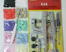 KAM Snap Pliers Starter Kit 10 Sets of Colors w/ Awl For Bibs Diapers Crafts Clothes Choose Your Colors