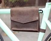 Leather Bike Frame Bag - Chocolate Brown
