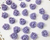 6 Pcs. 10mm  Ruffled Rose Cabochon  Purple FL009-PUR