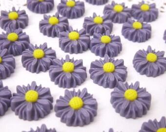 Shop Closing Sale! 6 pcs. 14mm  Daisy Cabochon Dark Purple FL005-DKPR