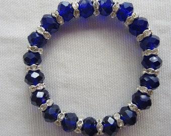 Beautiful Handmade Deep Blue Swavovski Crystal Bead Bracelet