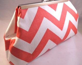 Coral Chevron Clutch