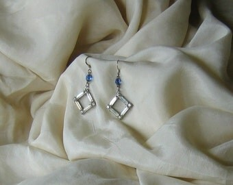 Rhinestone Chandelier Earrings with Rosary Beads