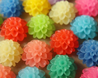 20 pc. Multi-Colored Frosted Dahlia Flower Cabochons 20mm | RES-200