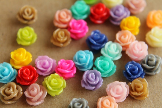 30 pc. Multi-Colored Tiny Rose Cabochons 7.5mm | RES-199