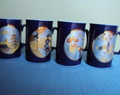 Chinoiserie Vintage Japanese Mug Tea Cup Set Cobalt Blue with Silver Blue and Asian Story Picture.