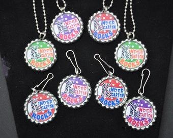 6 Kindergarten Bottlecap Necklaces or Zipper Pulls, kindergarten class gift, class party gift idea, christmas party gift