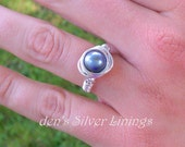 Pearl Wire Wrapped Ring, Sterling Silver and Swarovski Tahitian Crystal Pearl