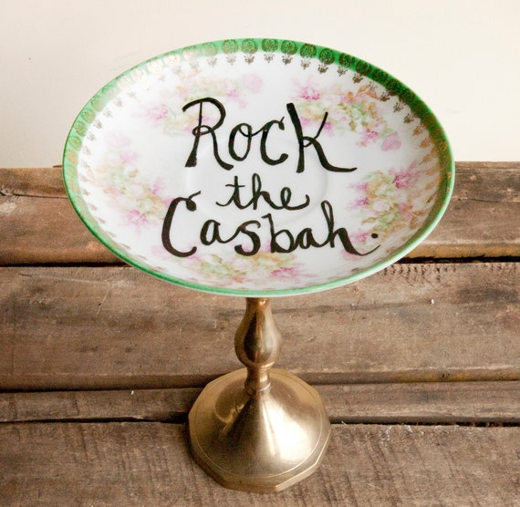 Vintage Jewelry Dish or Cake Stand- Upcycled - Shabby Chic
