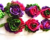"1 yard...15 flowers - Shabby Rose 2.5"" Neon with Glitter 2.5"" Chiffon Rosette Flower Trim"