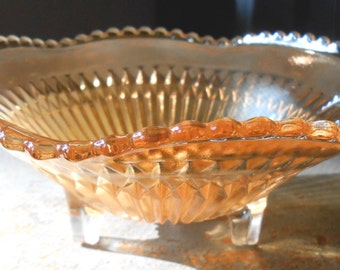 Vintage Candy Dish, Carnival Glass, Bowl, Footed