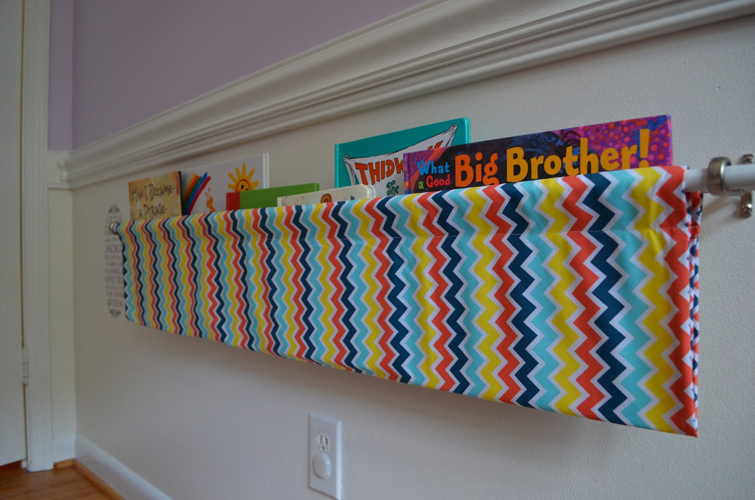 Multi Colored Rainbow Chevron Fabric Book Shelf Sling
