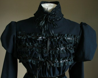 One of A Kind Goth Lolita Black & Navy Blue Gothic Ruffle Lace Babydoll Dress Bows Tulle Crinoline Cupcake Puff Sleeve Princess