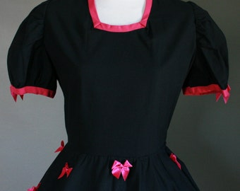 CLEARANCE FREE GIFT Handmade Pink Black Gothic Lolita Dress with Big Satin Bows & Matching Crinoline Tutu Puff Sleeve Contrast Trim Babydoll