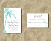 DIY Printable 5x7 Vintage Beach Wedding Invitation Set