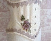 "20"" Brocade  Corset  Fairy  Appliqued Underbust Corset Steampunk Wedding WOODLAND BEAUTY By Ophelias Folly"