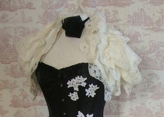 Steampunk WEDDING  Silk Ruffle Opera Shrug IVORY Lolita    Wedding By Ophelias Folly