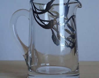 Small Vintage Glass Pitcher with Hand Painted Silver Flower Detail