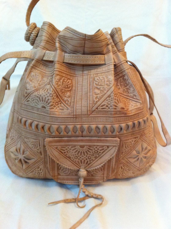 Moroccan Leather Bag Womens Handbag Purse Shoulder Bag By