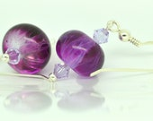 Purple Glass Earrings, Purple Beaded Earrings, Lampwork Glass and Swarovski Crystal