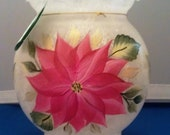 Christmas Poinsettia Frosted Ivy Bowl Candle with LED tealight