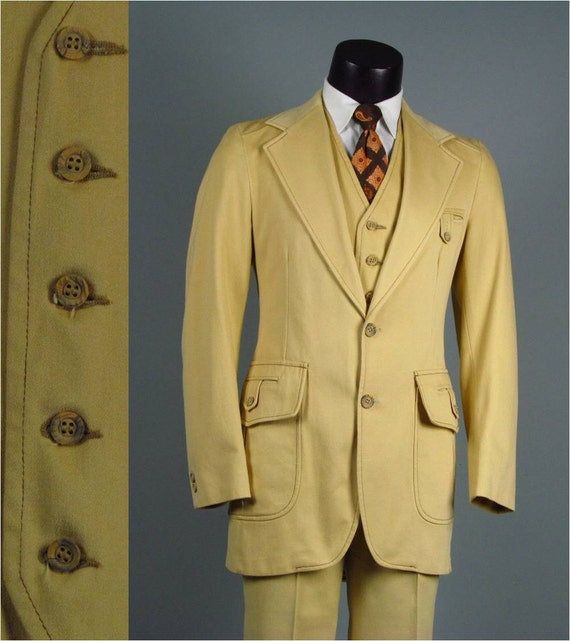 Vintage Mens Suit 1970s GROOVY NORFOLK Hunting Disco Mod Brushed Cotton Buttercup Tan Mens Vintage 3 Three Piece Suit 38 40