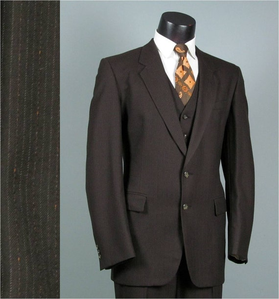 Vintage Mens Suit 1970s BIG AND TALL Chocolate Brown Pinstripe