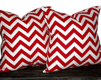 18 Inch Chevron Zig Zag Pillow Set - Set of 18 x 18 Inch Chevron Pillow Covers - Lipstick Red and White - TWO PILLOW COVERS