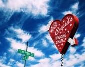 Cupids Chapel Las Vegas Strip, fine art photography, landscape, clouds, 8x10, home decor, Heart, red