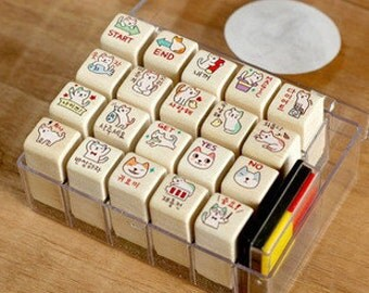 20 pcs Wooden Rubber Stamp Set - Rubber Stamp Set - Diary Stamps - Korean Stamps - Cat