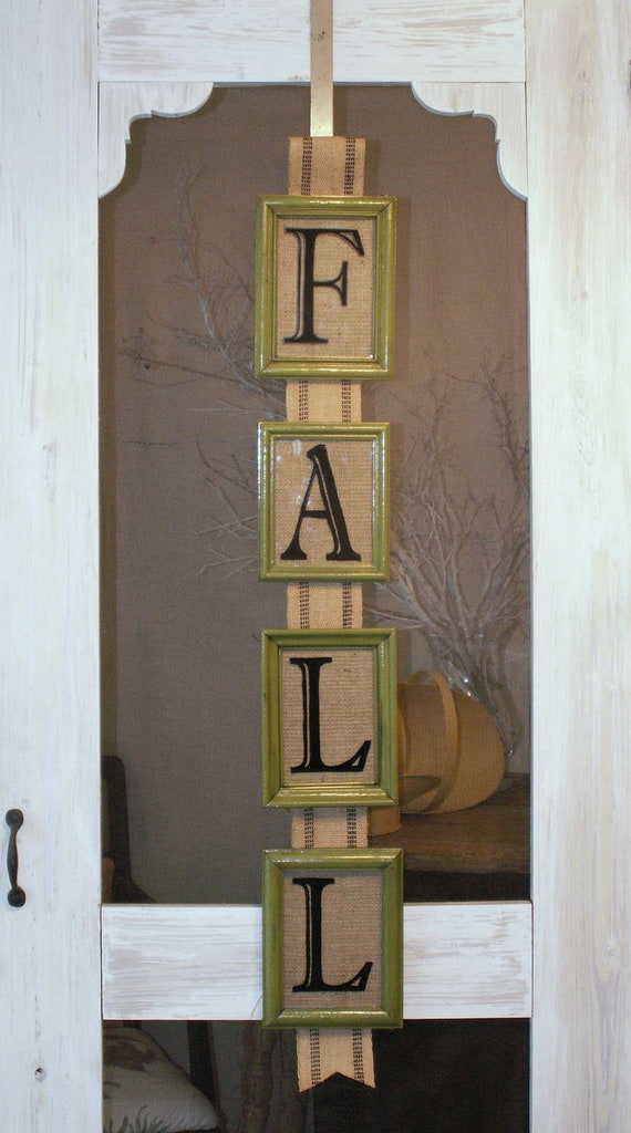 Rustic Fall Decor Frame Sign Green with Burlap Backing and Black Web Ribbon